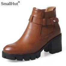 High Sqaure Heel Platform Ankle Boots Autumn Women Fashion Square Heels Shoes D081 Elegant Ladies Buckle Black Brown