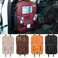 pu leather Car Seat Back Hanging Organizer Bag Universal Auto Multi-pocket PU Leather Pad Cups Storage Holder Bag Foldable Shelf (1)