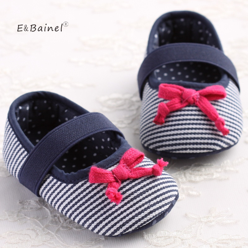 Brand Children Baby Kids Girl Shoes Anti-Slip Striped Butterfly Knot Toddlers First Walkers Newborns Baby Moccasins