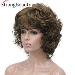 Image 4 - StrongBeauty Peluca de pelo corto sintético rizado para mujer, resistente al calor, sin capa