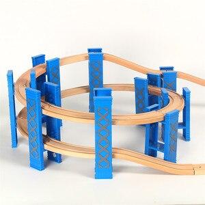 Image 3 - Vías de tren en espiral de plástico para niños, 26 Uds., accesorios de vía férrea de madera, pistas de puente con ajuste, Thoma Biro, Juguetes