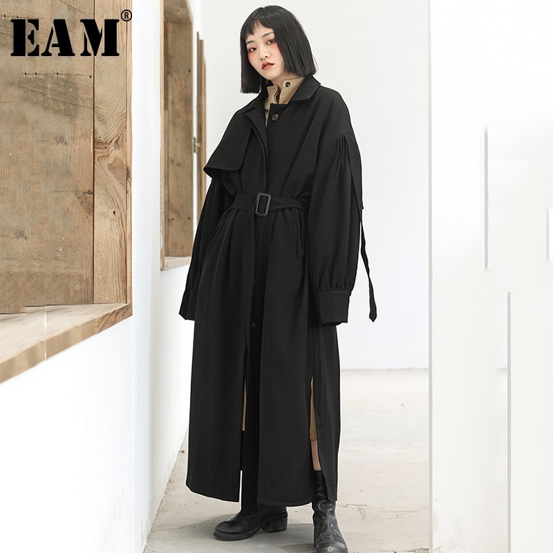 [EAM] 2019 Новинка весны с лацканами длинные Фонари рукавом черный свободные длинные большой Размеры ветровка Для женщин пальто мода прилив JI908