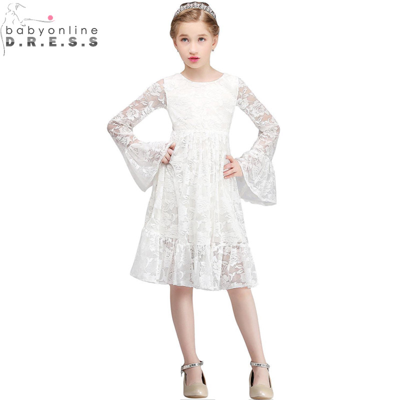 Primera Comunion Long Sleeve Ivory Lace   Flower     Girl     Dresses   for Weddings Knee Length First Communion   Dresses   for   Girls