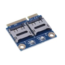Mini PCIE Card Adapter PCI-e mpci-e to Dual TF SDHC SDXC Reader Adaptor PCI-E TO TF Card Support Windows 7 / Vista / XP Mac OS