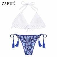 Zafulビキニ女性新しいかぎ針編み小さな花ストリングビキニ半ばウエスト花ホルターbralette水着タッセルブラジル水着