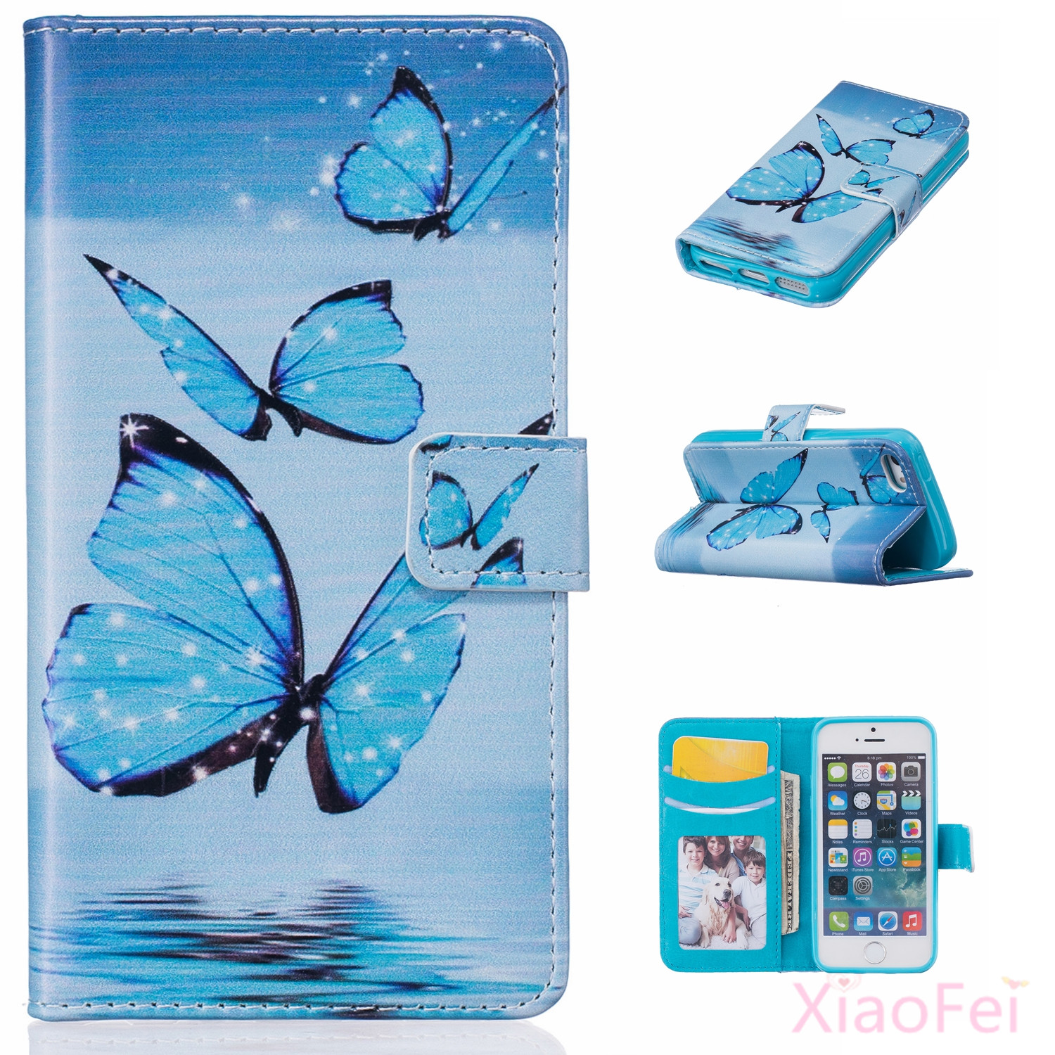New Arrival Hot Sale Wallet PU Leather For iPhone 5 & 5S For iPhone SE Flip Cover Bag Flip With Stand Cove Cases with Card Slots