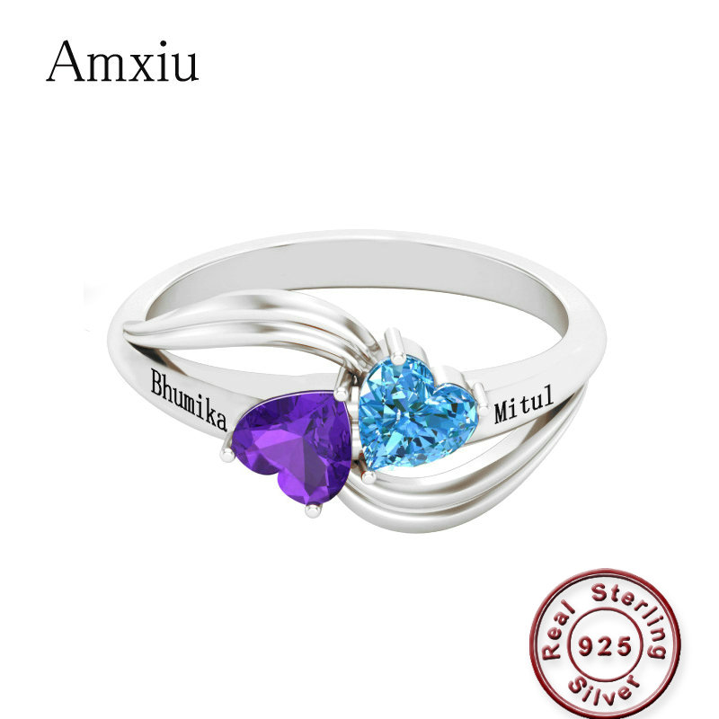 Amxiu Personalized Gift Birthstone Engraved Name Rings For Women Promise Love Heart Ring 925 Sterling Silver Anniversary Jewelry