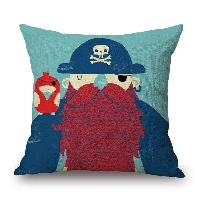 Cartoon Style Sailor Print Cushion Cover 3