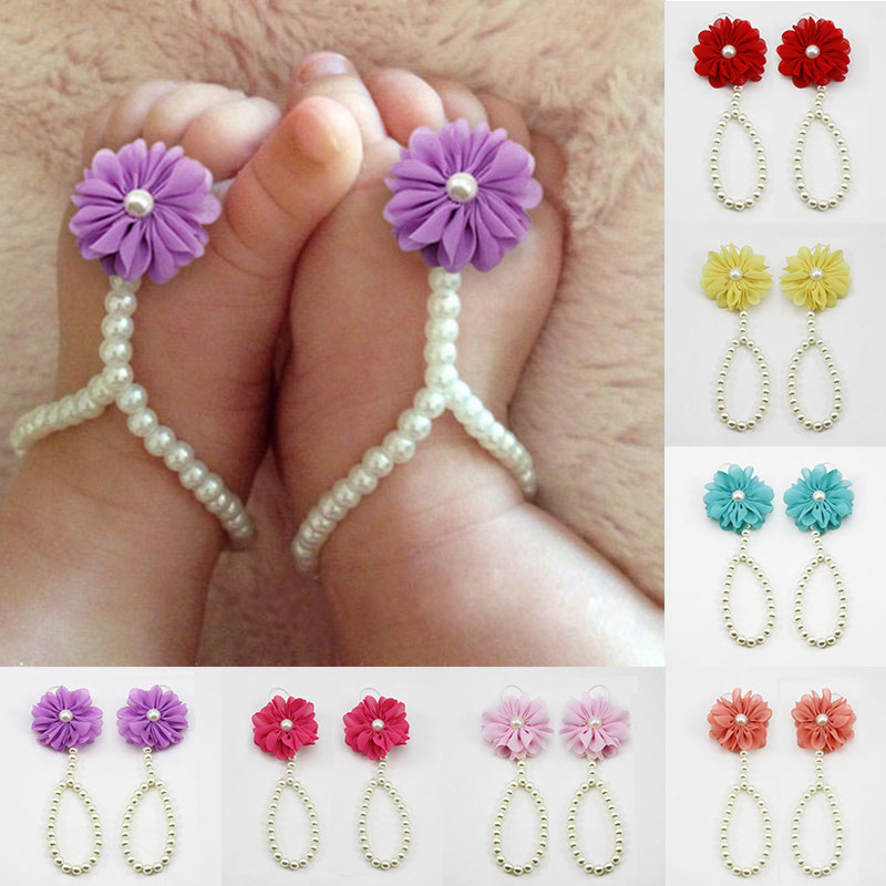 1 Pair Infant Baby Kid Girls Flower Anklets Imitated Pearl Chiffon Barefoot Toddler Summer Style Foot Jewelry M8694