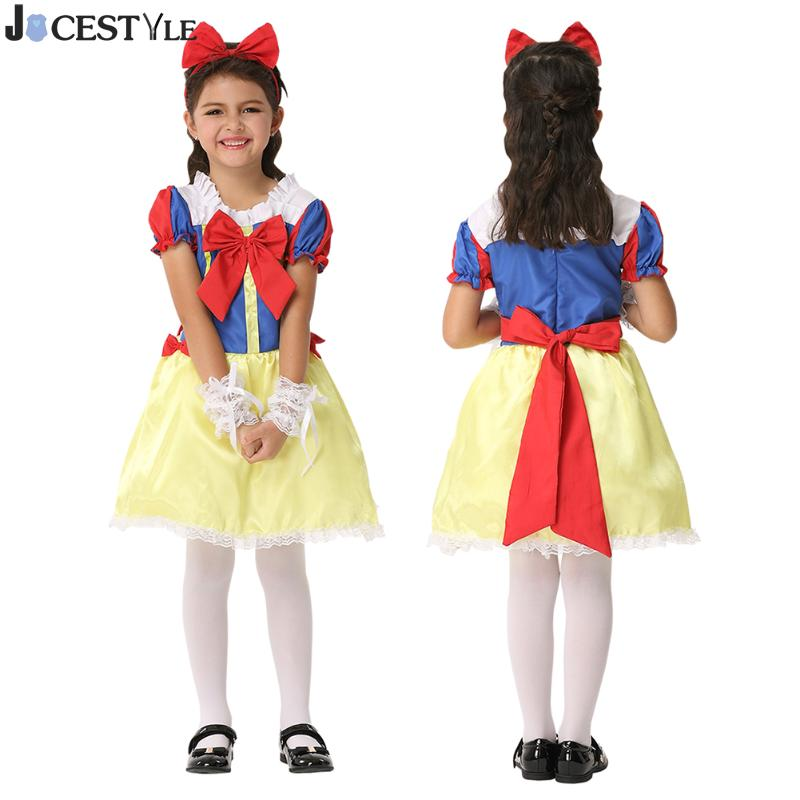 JOCESTYLE Halloween Cosplay Girls Princess Snow White Costume Carnival Fancy Party Dress Outfit Clothes 4pcs gothic halloween artificial devil vampire teeth cosplay prop for fancy ball party show