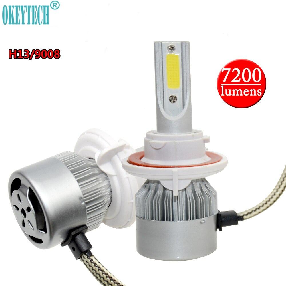 OkeyTech 2PCS/Lot Replace H13/9008 Car Auto LED Head Light Bulb COB Chip 12V~24V 6000K Head Lamp Fog Light 80W Hi/Lo Beam 7200lm
