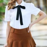 2017 Fashion Casual Shirt Female Bow Tie White Blouses Peter Pan Collar Women Tops School Ladies
