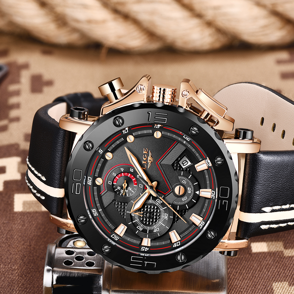 HTB1Zh4AaffsK1RjSszgq6yXzpXas 2020LIGE New Fashion Mens Watches Top Brand Luxury Big Dial Military Quartz Watch Leather Waterproof Sport Chronograph Watch Men