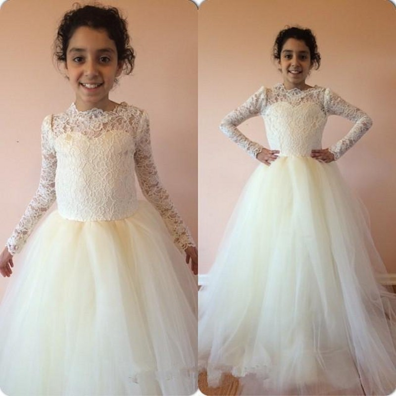 2019 Ivory White Lace Flower Girls Dresses for Wedding Long Sleeves O Neck Puffy Tulle First Communion Dress Birthday Party Gown white slit design round neck long sleeves crop top