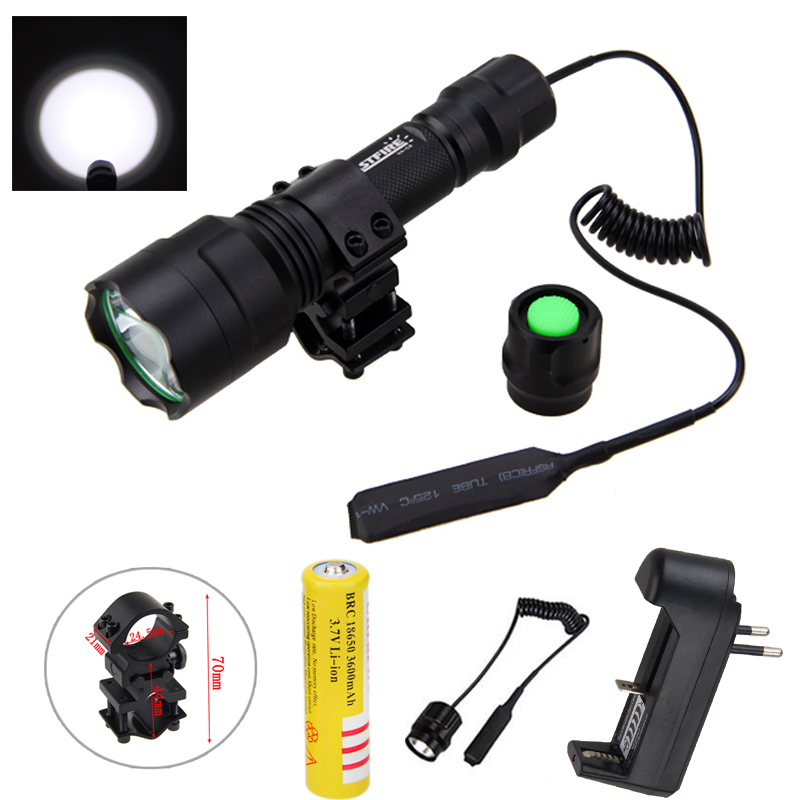2500lm T6 Tactical Hunting Light LED Weapon Flashlight White Torch+ Rifle Scope Mount +Pressure Switch+18650 Battery+Charger