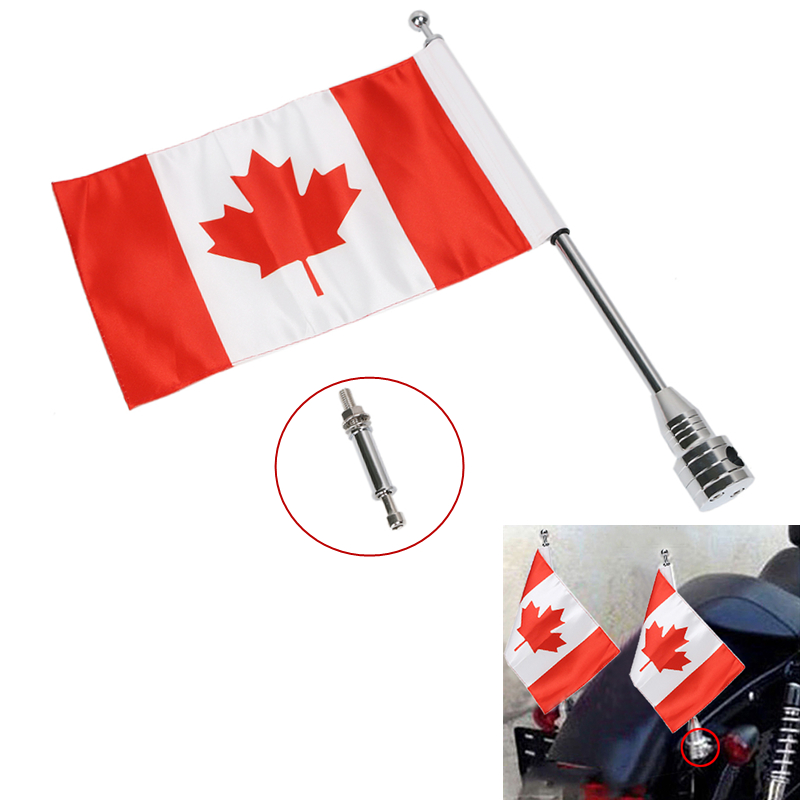 Motorcycle Rear Luggage Rack Canada Flag & Steel Flag Pole Mount For Harley Touring Sportster Dyna Softail Bike Decal #MBG030-CA partol black car roof rack cross bars roof luggage carrier cargo boxes bike rack 45kg 100lbs for honda pilot 2013 2014 2015