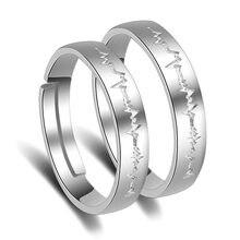 ECG Batimentos Cardíacos Ajustable Anéis Casal Definidos para Os Amantes de Casamento de Cristal 2 Pcs Mulheres Acessórios do Presente Do Dia Dos Namorados
