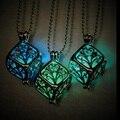 Steampunk bonito rodada magia de fadas colar de pingente medalhão brilham no escuro presente de incandescência luminosa do vintage colares