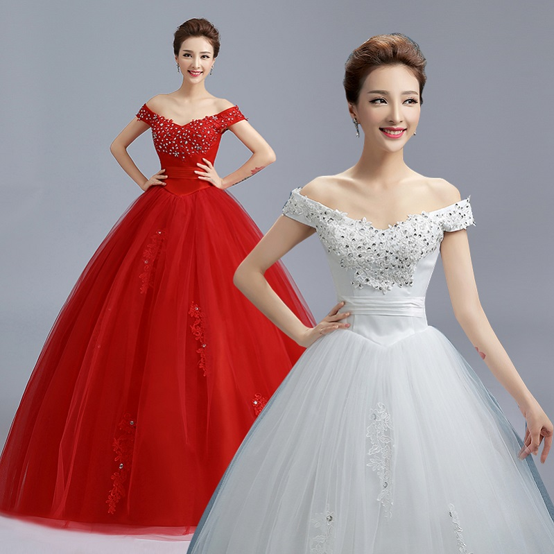 Red And White Ball Gown Wedding Dress: 2017 New Stock Plus Size Women Bridal Gown Wedding Dress