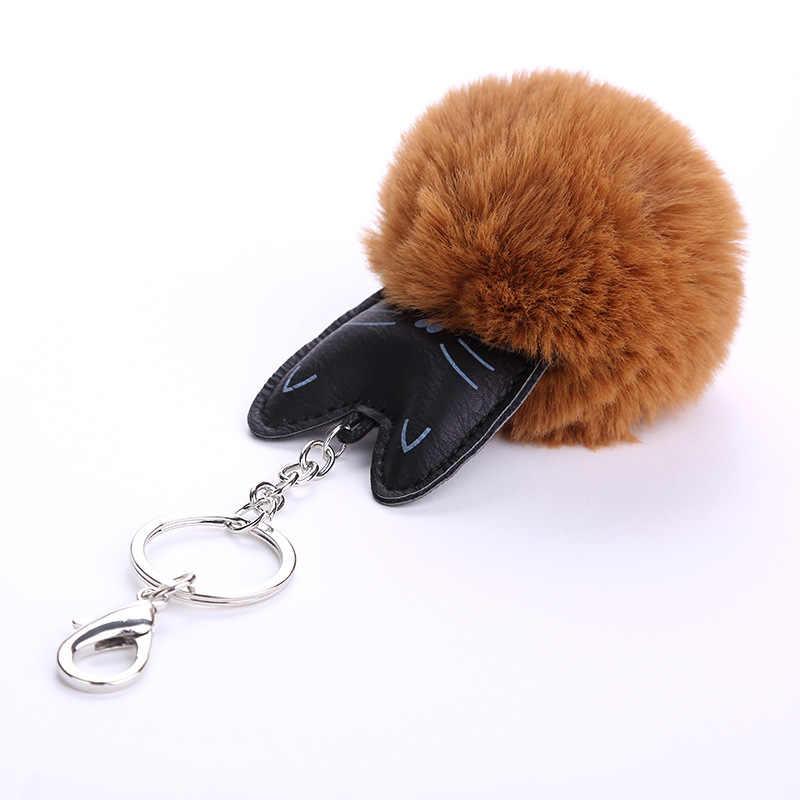 Pingentes de animais Chaveiro de Couro Moda Faux Fur Pom Pom bola Gato Saco Chave Do Carro Anel feminino Acessórios Charme Presente jóias K1624