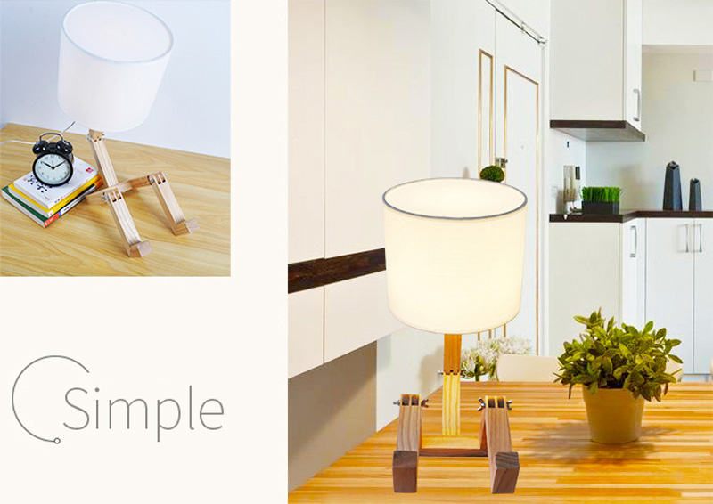 Nordice Modern Creative Gifts Foldable Robot Desk Table Lamps Wooden Base Table Lamp Bedside Reading Desk Lamp Home Decor Light Fixture (5)