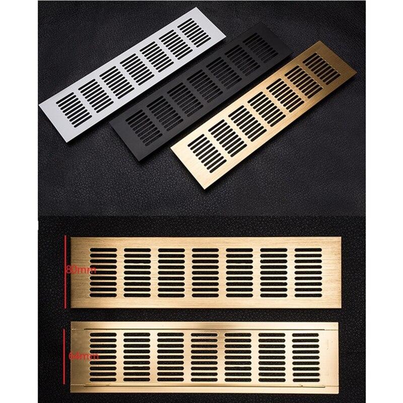 4Pcs/Lot 80mm Wide Aluminum Air Vent Ventilator Grille For Closet Shoe Cabinet Gold Black Air Conditioner