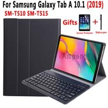keyboard Case for Samsung Galaxy Tab A 10.1 2019 SM-T510 SM-T515 T510 T515 Case Keyboard for Samsung Tab A 10.1 Cover+keyboard 2017 new for samsung galaxy tab s3 9 7 removable bluetooth keyboard case for samsung tab s3 9 7 t820 t825 multifunction cover