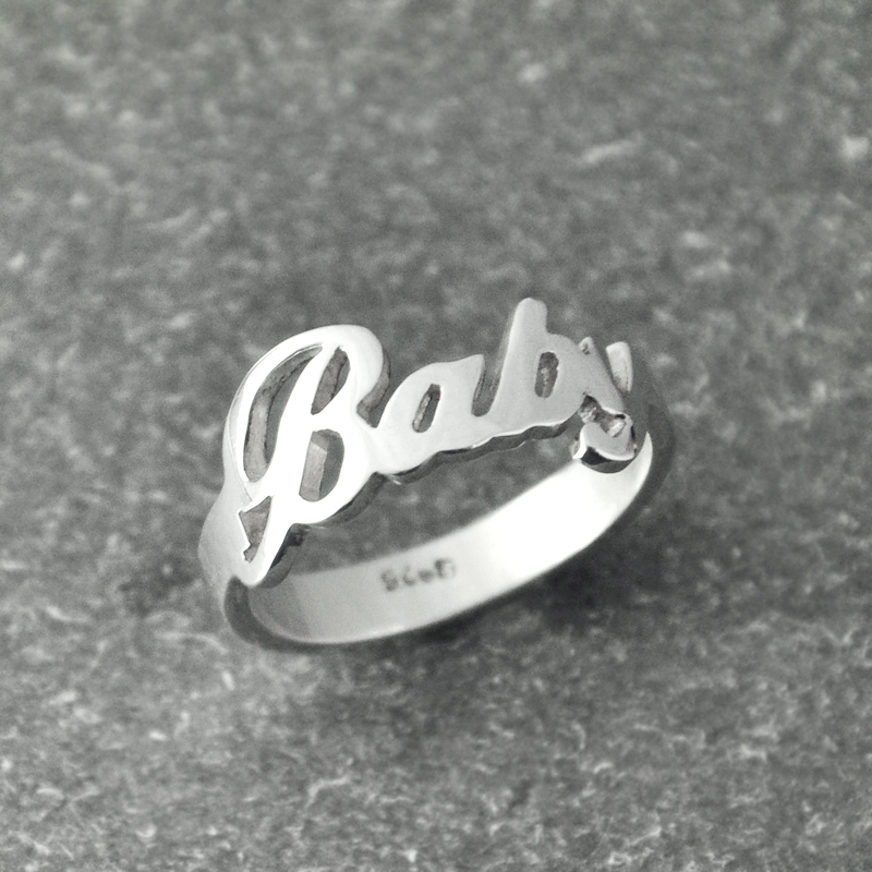 Custom Name Ring, Handmade Ring, Alison Font Wedding Ring , Personalized name ring charming jewelry charming embellished blue rhinestone wedding ring