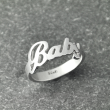 Custom Name Ring, Handmade Ring, Alison Font Wedding Ring , Personalized silver name ring charming jewelry