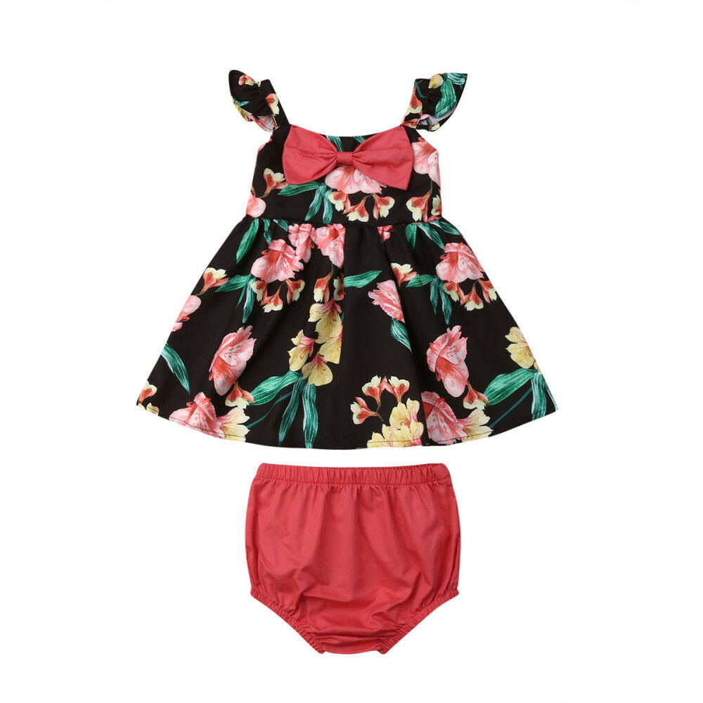 2PCS Newborn Baby Girls Flower Bow Tops Dress And Shorts Outfits Clothes Summer