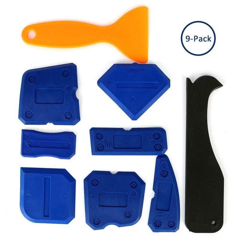 10 Piece Set Filling Tool Kit Scraper Glass Glue Scraper Rubber Sealant Finishing Tool Grouting Scraper
