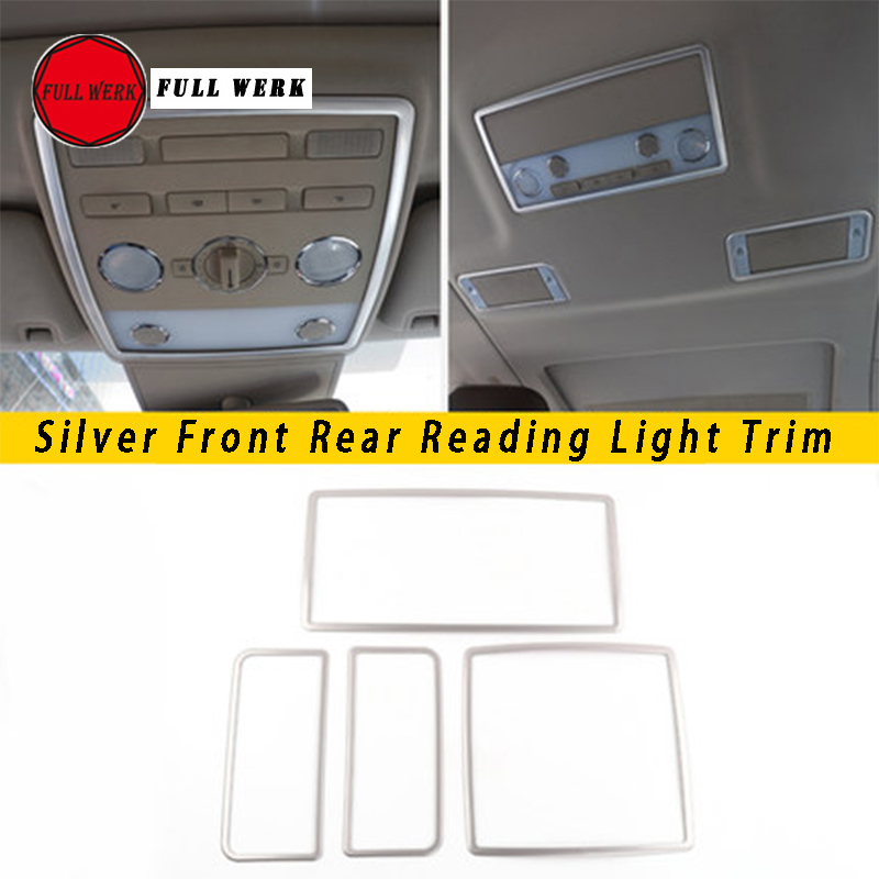 Stainless Steel Car Styling Front Rear Reading Light Lamp Trim Cover Frame Decoration Sticker For VW Phaeton Accessories