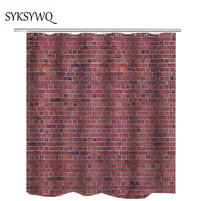 Brick Wall Shower Curtain Waterproof Drop Shipping Hotel College Dorm Decor For The Bathroom