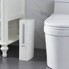Narrow bathroom trash can with toilet brush lid bag storage container plastic