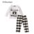 Eaboutique 2016 nova moda inverno carta padrão manga comprida camisas com calças xadrez roupas de bebê menino definir