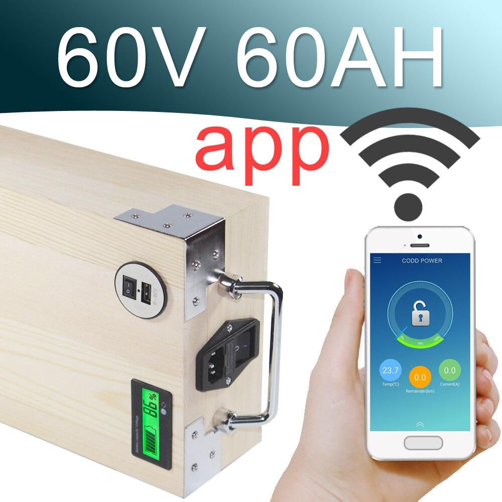 60 V 60AH APP Au Lithium ion vélo Électrique Batterie Téléphone contrôle USB 2.0 Port vélo Électrique Scooter ebike Puissance 3000 W Bois