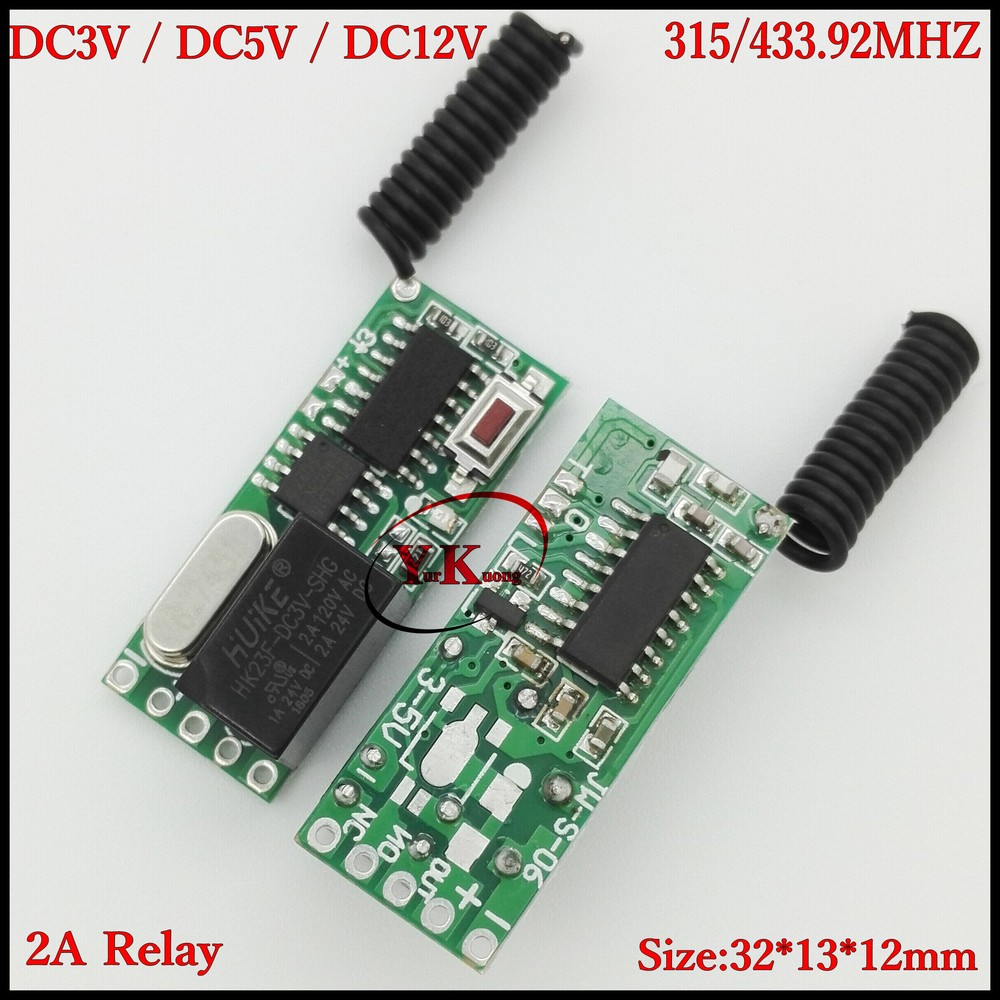 DC12V 1CH Relay Remote Switch 2A Contact wireless remote control Normally Open Closed ASK Small Mini Size 315433 Waterproof TX