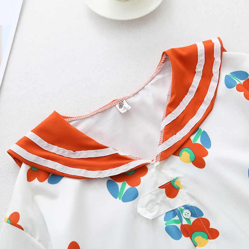 日本女の子ひまわりプリント半袖シャツ原宿 Tシャツ女性シフォンブラウス服かわいいかわいいトップス