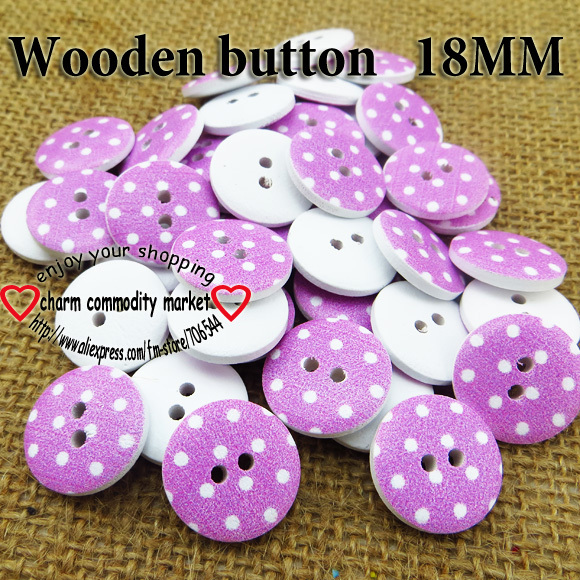 100PCS 18MM dot painting purple button brand sweater wooden buttons sewing clothes boots ...