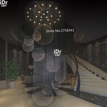 new modern hotel lobby big crystal chandelier staircase chandelier Dia90xH300cm High grade light free delivery