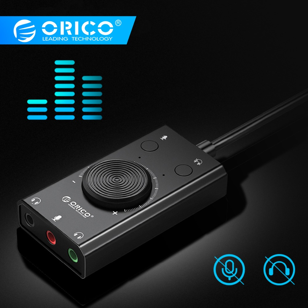 ORICO SC1 External USB Sound Card Stereo USB Sound Card Mic Speaker Audio Jack 3.5mm Cable Adapter for PC Laptop Free Drive Звуковая карта