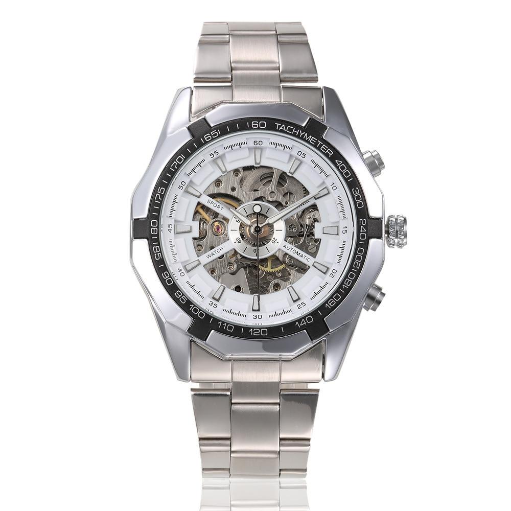 Inoxidável à Prova Água dos Homens Relógio de Pulso Forsining Marca Prata Ouro Luxo Aço Dwaterproof Relógios Esqueleto Transparente Mecânico Masculino &