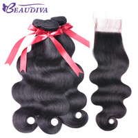 Brazilian Body Wave Hair Extensions 100 Remy Human Hair Weave Bundles With Closure 4 4 Natural