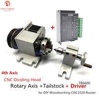 Cnc dividindo a cabeça eixo rotativo + tailstock + driver  4th eixo nema17 motor + tb6600 drive + K01-50 3 mandíbula auto-centralização torno chuck