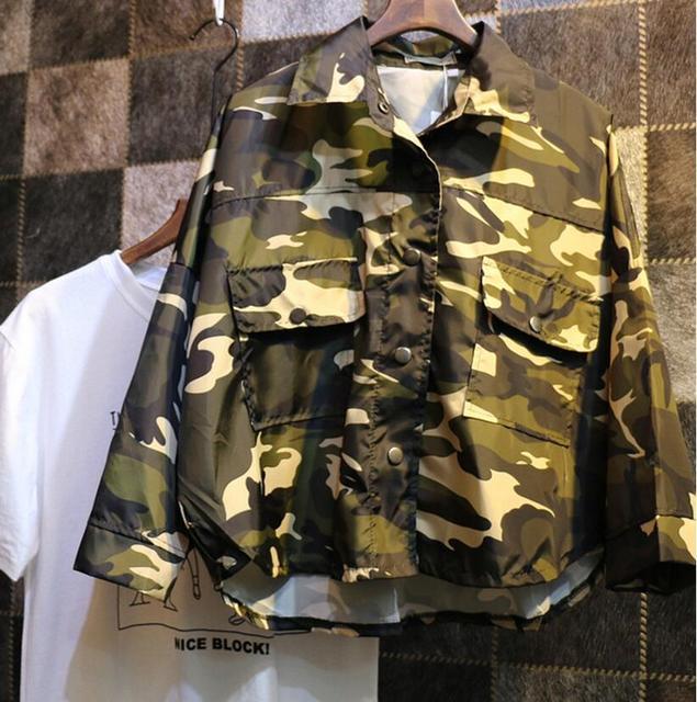 Envío gratis 2016 nueva sección corta de corea mujer camuflaje personalizada protector solar para mujer