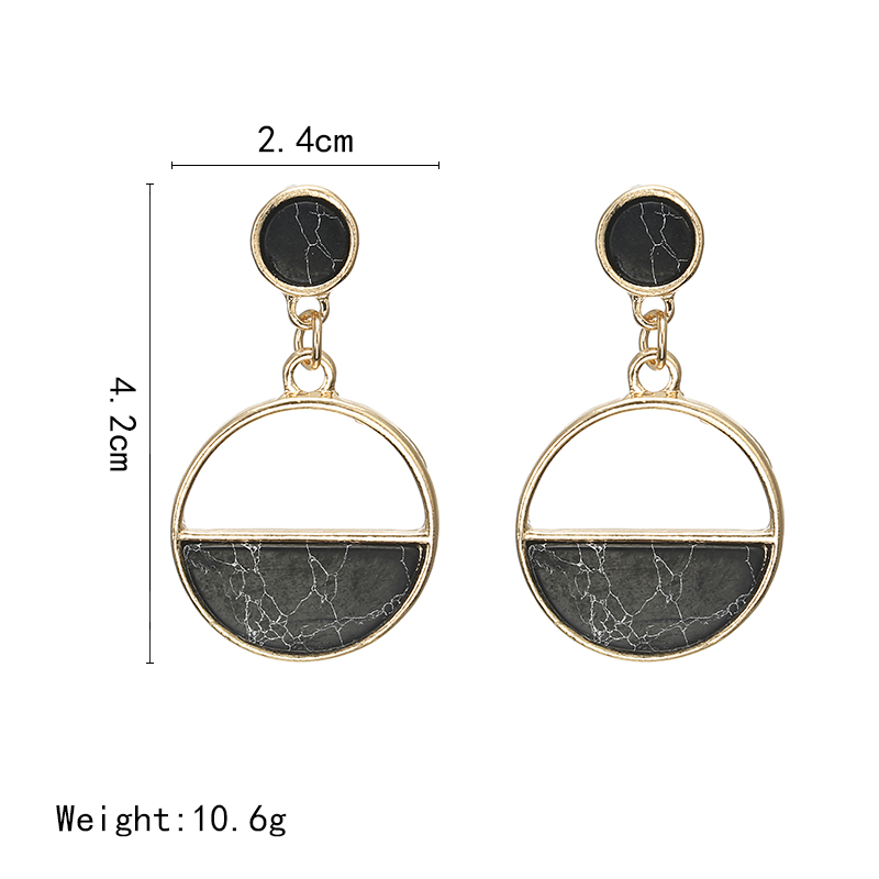 2018 New Fashion Stud Earrings Black White Stone Geometric Earrings Round Triangle Design Punk Ear Jewelry Brincos in Stud Earrings from Jewelry Accessories