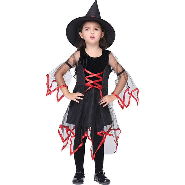 Halloween Costume for Kids Witch Dresses(Hat+Dress) Cute Net Yarn ...
