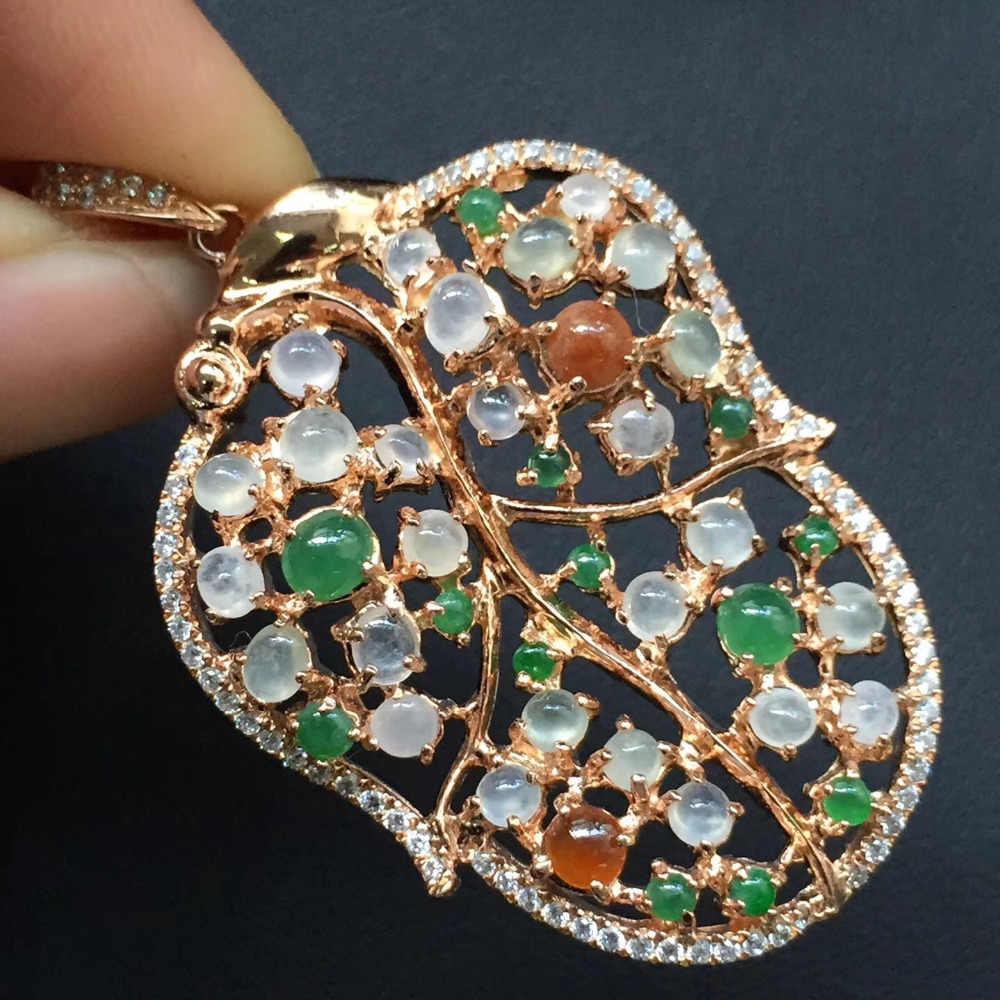 Fine Jewelry Real 925 Steling Prata s925 Myanmer Tipo Um 100% Natural Jade Gemstone Pingente Colares Presente de Natal do Sexo Feminino