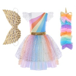 Girl Unicorn Fancy Dress Rainbow Sequined Tutu Wedding Party  Dress with Hair Hoop Wings Set for Cosplay Costumes 5-12Y