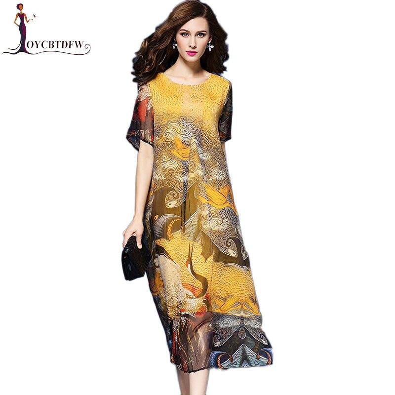 Printemps femmes robe en soie 2018 été nouvelle impression femmes robe grande taille col rond lâche Floral à cinq points manches en mousseline de soie robe